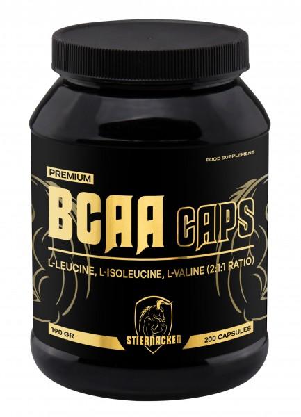 STIERNACKEN BCAA Caps 200 Kapseln - L-Leucine - L-Isoleucine - L-Valine - Aminosäuren - 2:1:1 Ratio