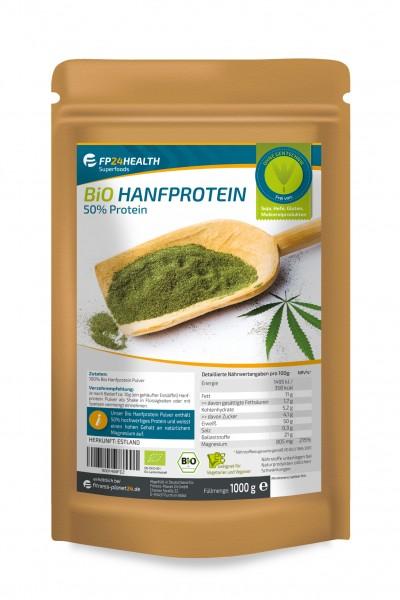 FP24 Health Bio Hanfprotein 1kg - 50% Eiweiss - Ökologischer EU Anbau - 1000g veganes Protein
