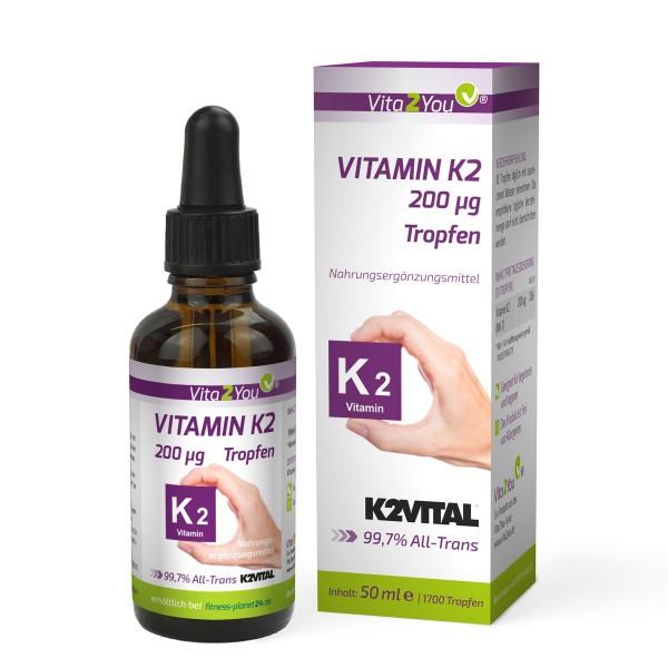Vita2You Vitamin K2 Tropfen - 200μg - 50ml - 1700 Tropfen - Menaquinon MK-7 - Flüssig - K2 von Kappa