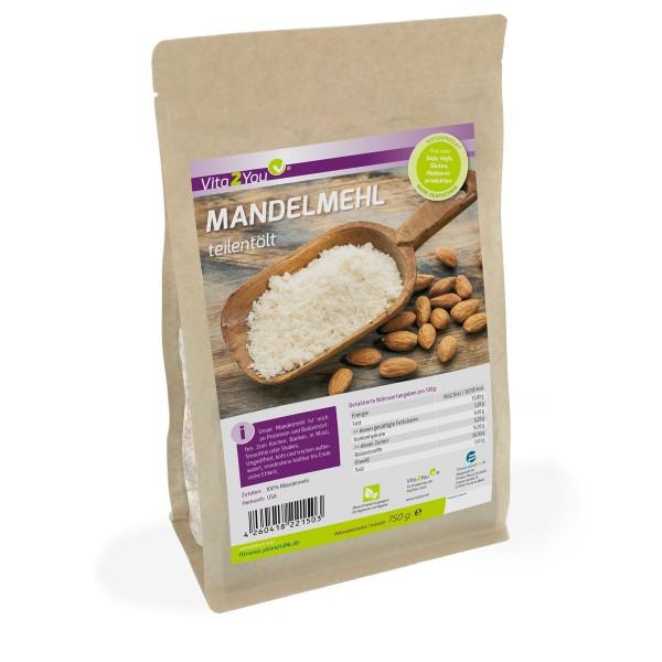 Vita2You Mandelmehl 750g - teilentölt - blanchiert und naturbelassen - Premium Qualität