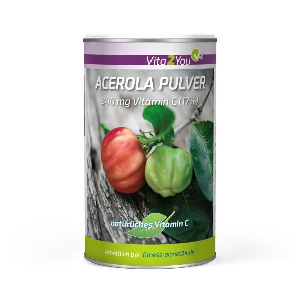 Vita2You Vitamin C Acerola Pulver 200g - Natürliches VitaminC - 17% Vitamin C - Membrandose