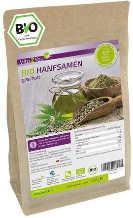 Vita2You Bio Hanfsamen geschält 1kg - deutscher Anbau - 100% Rohkost-Qualität im Zippbeutel