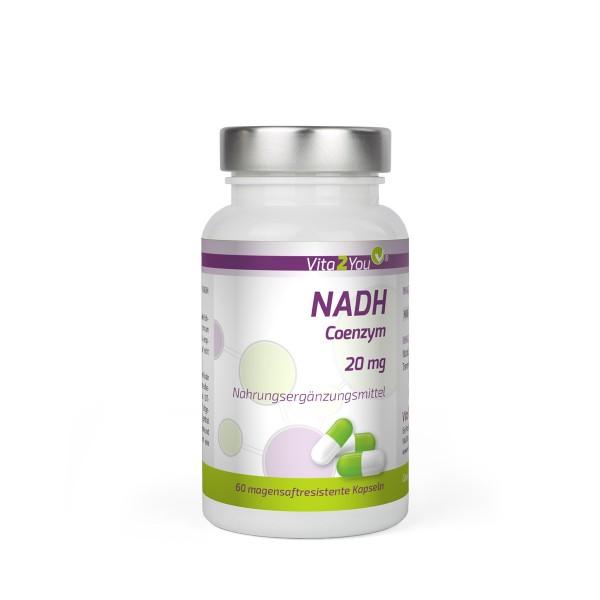 Vita2You NADH 20mg - 60 magensaftresistente Kapseln - Coenzym 1