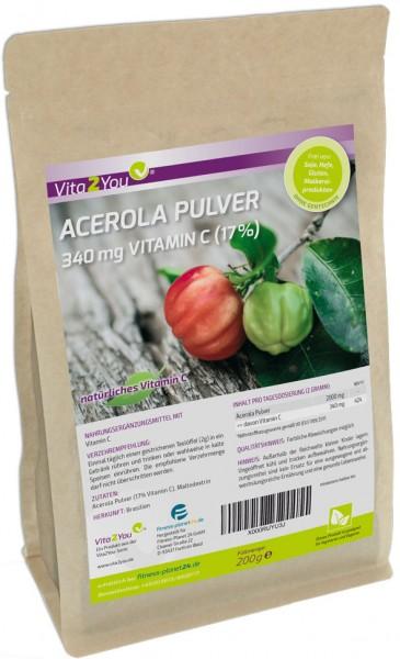 Vita2You Vitamin C Acerola Pulver 200g - Natürliches VitaminC - 25% oder 17% Vitamin C - Zippbeutel