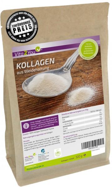 Vita2You Collagen Pulver 500g - Weidehaltung und grasfütterung - Premium Kollagen - Protein