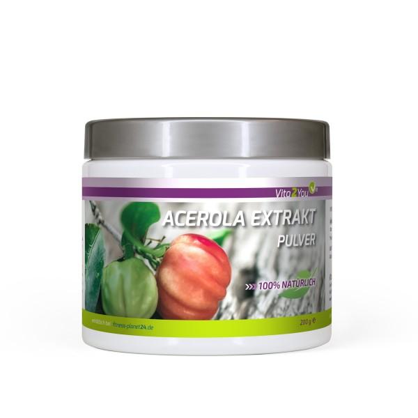 Vita2You Vitamin C Acerola Pulver 200g - 340mg Natürliches Vitamin C - Dose inkl. Messlöffel
