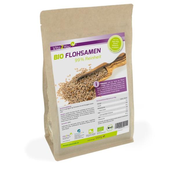 Vita2You BIO Flohsamen 99% Reinheit - 1kg Zippbeutel - Höchste Reiheit - indische Flohsamen