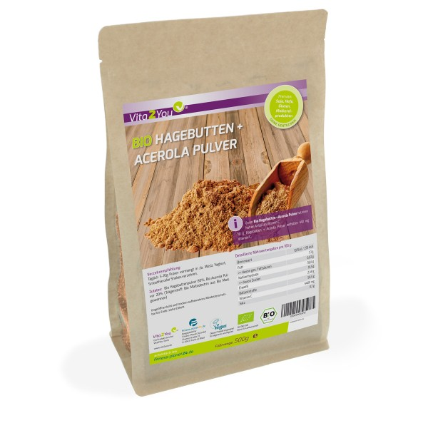 Vita2You Bio Hagebutten + Acerola Pulver - Natürliches Vitamin C