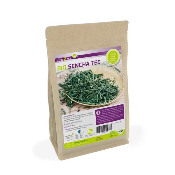 Vita2You Bio Sencha Tee 250g - Glutenfrei - Grüner Tee - Vegan und ökologisch - Lose Blätter
