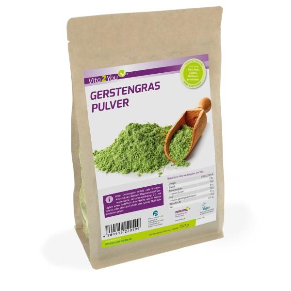 Vita2You Gerstengras Pulver 750g im Zippbeutel - Premium Qualität
