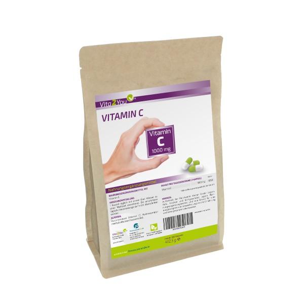 Vita2You Vitamin C 1000mg - 365 Kapseln - Jahrespackung - ohne Zusätze - Hochdosiert