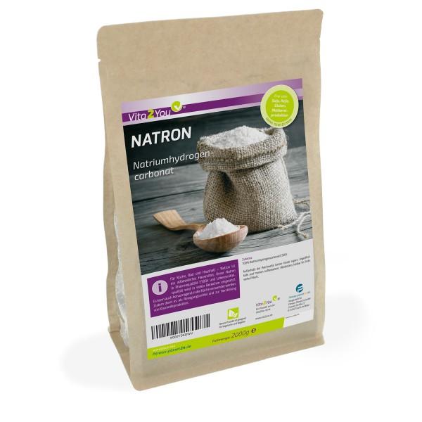 Vita2You Natron Pulver 2kg - Natriumhydrogencarbonat - natriumbicarbonat - Premium Qualität