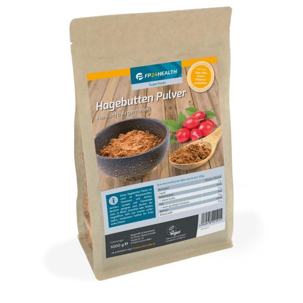 FP24 Health Hagebuttenpulver 1kg - im wiederverschließbaren Zippbeutel - Hagebutten gemahlen