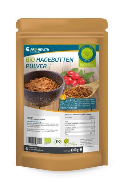 FP24 Health Bio Hagebuttenpulver 1kg - im Zippbeutel - ganze Hagebutten gemahlen - EU Anbau