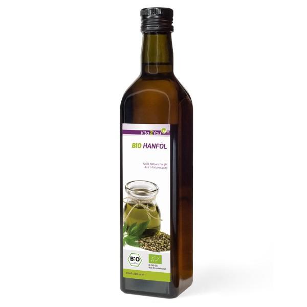 Vita2You Bio Hanföl Nativ 500ml - 1. Kaltpressung - Enthält Omega 3 und Omega 6 Fettsäuren