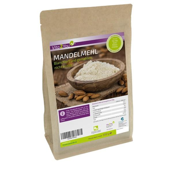 Vita2You Mandelmehl 1kg - blanchiert und naturbelassen (nicht entölt) - Premium Qualität