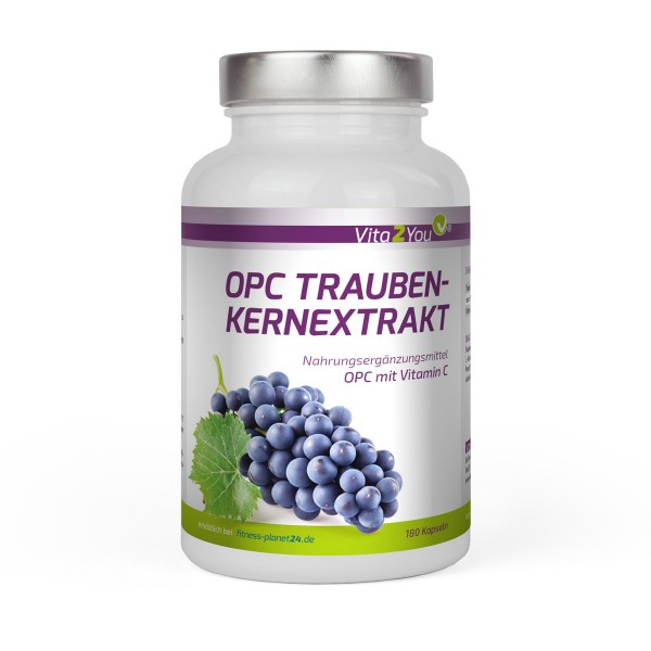 Vita2You OPC Traubenkernextrakt - 180 Kapseln - Hochdosiert 300mg mit Vitamin C