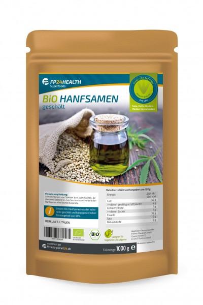 FP24 Health Bio Hanfsamen geschält 1kg - Ökologischer Anbau - 1000g - EU Hanf
