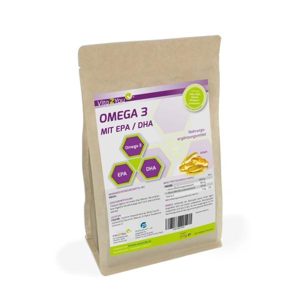 Vita2You Omega 3 - 1000mg mit EPA & DHA - 365 Softgels - Fischöl - Kapseln