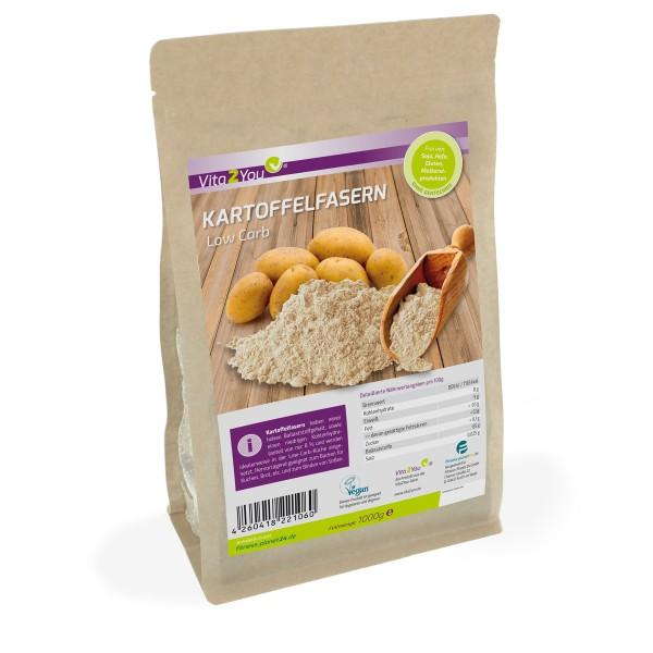Vita2You Kartoffelfasern 1000g - Low Carb - 8% Kohlenhydrate - Zippbeutel - Premium Qualität