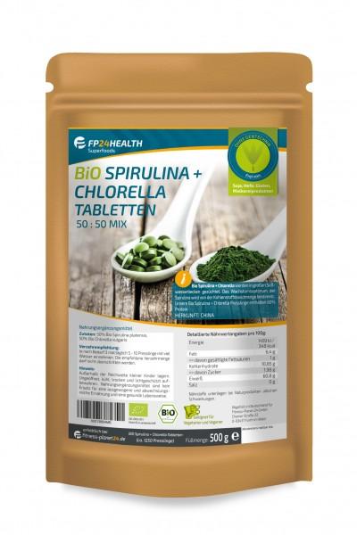 FP24 Health Bio Spirulina + Chlorella Tabletten 400mg - 500g - Platensis - vulgaris Algen - Öko