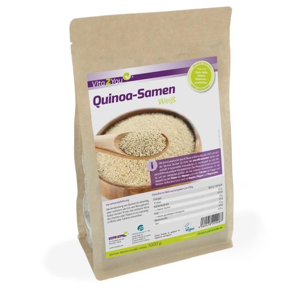Vita2You Quinoa Samen Weiß 1kg Zippbeutel - Salvia Hispanica - Premium Qualität