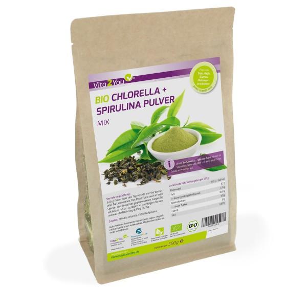 Vita2You Bio Chlorella + Spirulina Mix Pulver 500g - 50:50 Mix - Premium Qualität