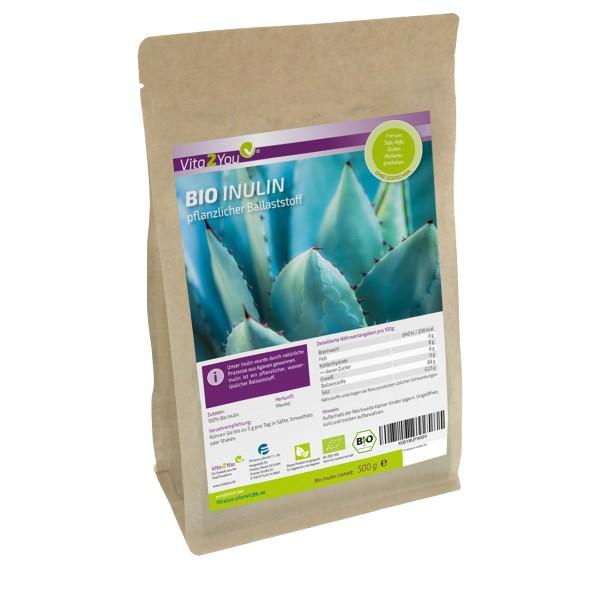 Vita2You Bio Inulin Pulver 500g - Präbiotikum - ökologischer Anbau - Glutenfrei - Premium Qualität