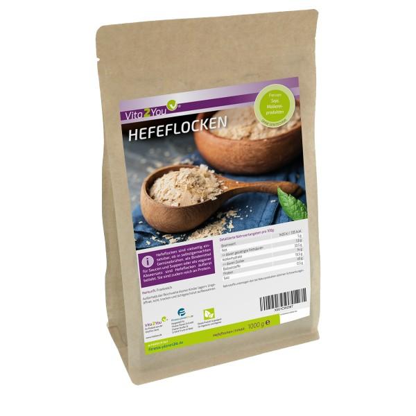 Vita2You Hefeflocken 1kg - ohne Zusätze - Proteinreich - vegane Käsesoße - Premium Qualität