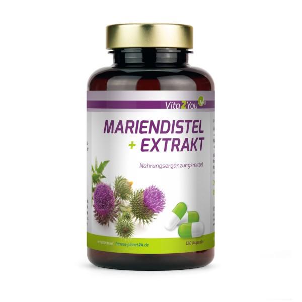 Vita2You Mariendistel Extrakt mit Silymarin - 600mg pro Kapsel - 120 Kapseln