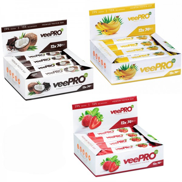 PROFUEL veePRO Protein Riegel 12er Pack a 74g - Eiweiss-Riegel