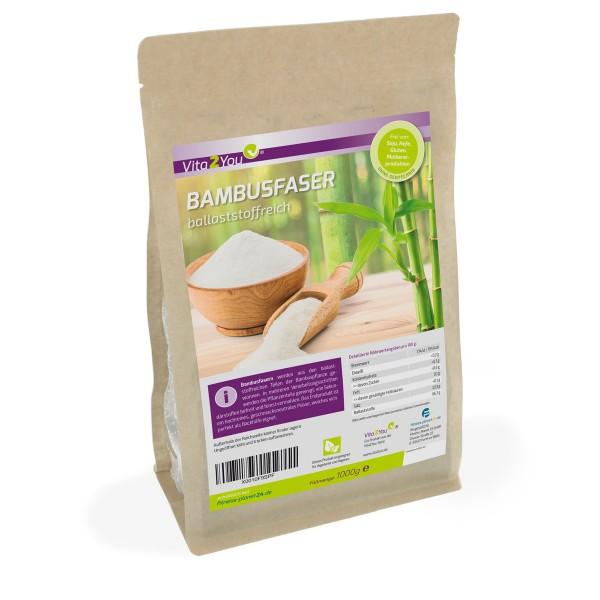 Vita2You Bambusfaser 1000g - Ballaststoffreich - zum Backen - Andicken - Bambusfasern
