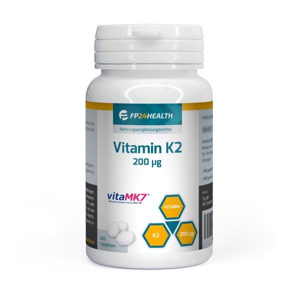 FP24 Health Vitamin K2 - 200μg - Jahrespackung - 365 Tabletten - Menaquinon MK7