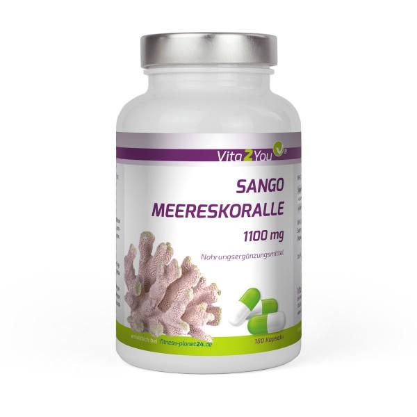 Vita2You Sango Meereskoralle 1100mg - 180 Kapseln - Natürliches Kalzium und Magnesium