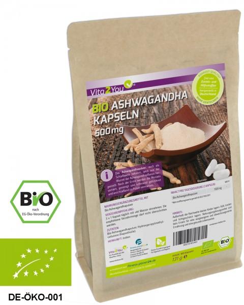 Vita2You Bio Ashwagandha Kapseln 1500mg - 180 Kapseln - 100% Bio Qualität