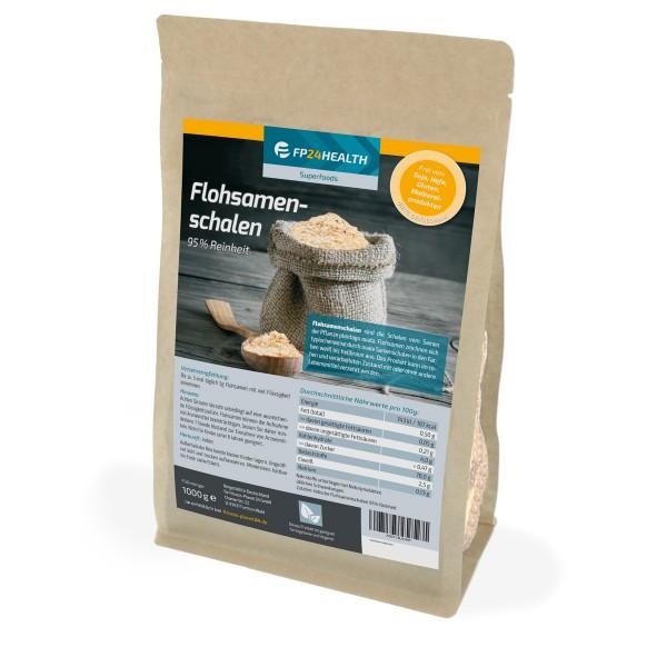 FP24 Health Flohsamenschalen 1000g - 95% Reinheit - indische Flohsamen Schalen - 1kg