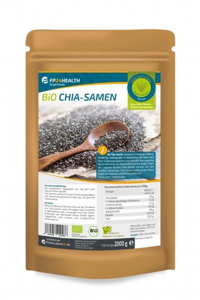 FP24 Health Bio Chia Samen 2kg - Rohkost Qualität - kontrolliert und abgefüllt in Deutschland