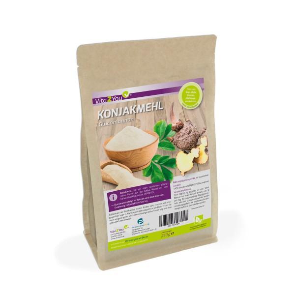 Vita2You Konjakmehl 250g im Zippbeutel - Glutenfrei - feines Glucomannan Pulver - Premium Qualität
