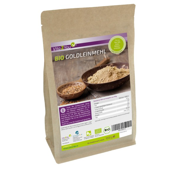 Vita2You Bio Goldleinmehl 1000g - Glutenfrei - Mehlersatz - viel Protein und wenig Kohlenhydrate