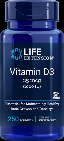 Life Extension - Vitamin D3 1000IU - 250 Softgels Vitamine & Mineralien