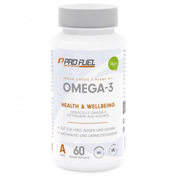PROFUEL Omega 3 - 60 vegane Kapseln - Fischöl mit DHA und EPA