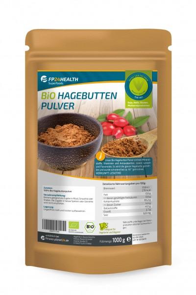 FP24 Health Bio Hagebuttenpulver 1kg - im Zippbeutel - ganze Hagebutten gemahlen - Öko Anbau