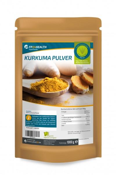 FP24 Health Kurkuma Pulver 1kg - im Zippbeutel - Kurkuma gemahlen - aus Indien - 1000g Curcuma
