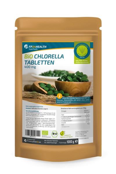 FP24 Health Bio Chlorella Tabletten 400mg - 1kg - Vulgaris Algen - Ökologischer Anbau - 1000g