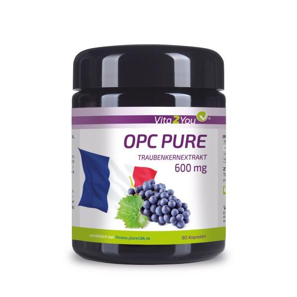 Vita2You OPC Pure Traubenkernextrakt 600mg pro Kapsel - Traubenkerne aus FR - 90 Kapseln