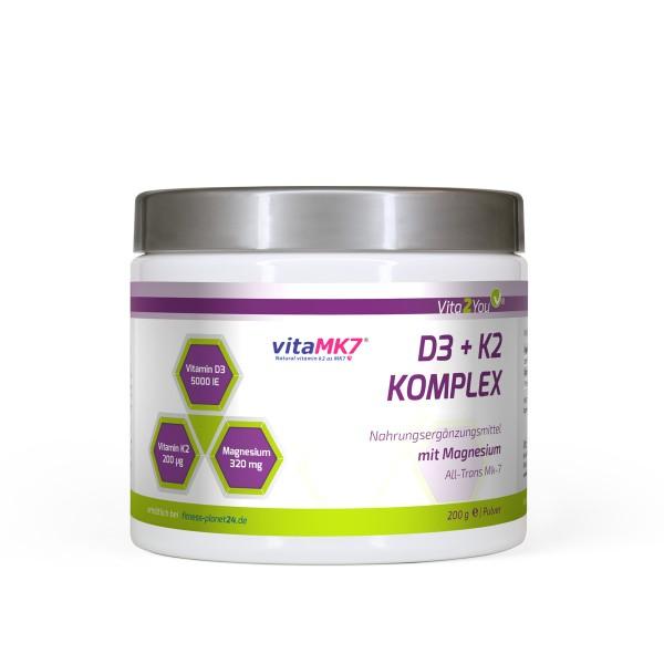 Vita2You Vitamin D3+K2 Komplex Pulver mit Magnesium - 200g - Premium Qualität