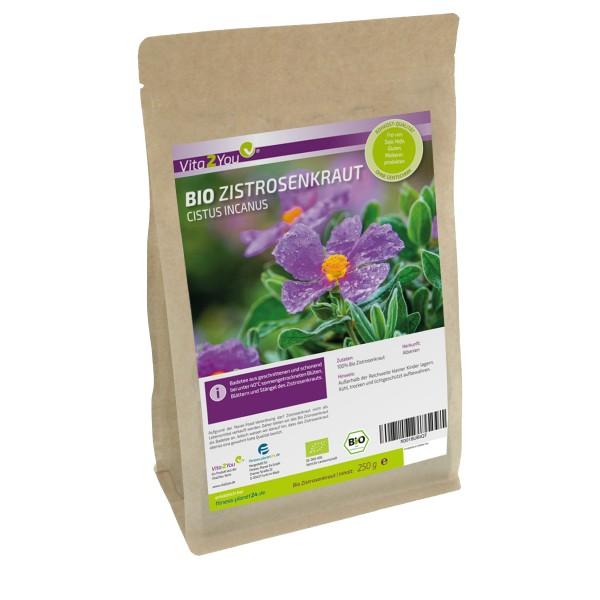 Zistrosenkraut Bio 250g - Cistus Incanus - Zistrosentee (Bade Tee) - Vegan und ökologisch