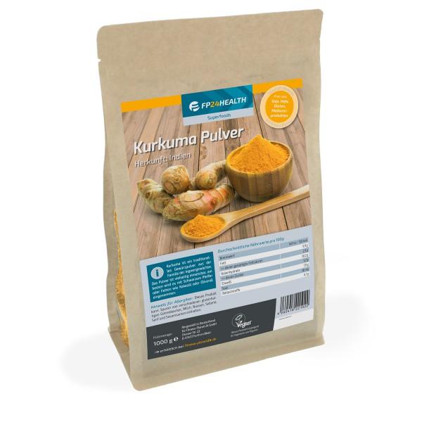 FP24 Health Kurkumapulver 1kg - im wiederverschließbaren Zippbeutel - Kurkuma gemahlen
