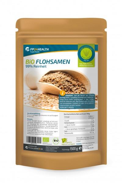 FP24 Health Flohsamen Bio 1,5kg - 99% Reinheit - indische Flohsamen - 1500g