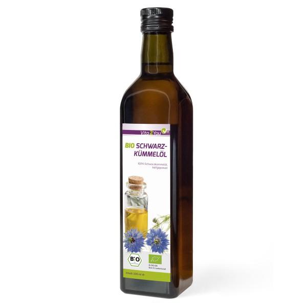 Vita2You Bio Schwarzkümmelöl 500ml - kaltgepresstes Ägyptisches Schwarzkümmeloel - Premium Qualität